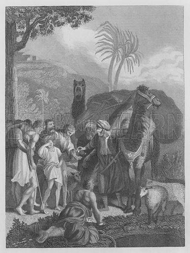 Joseph, Sold, Genesis, XXXVII, 25. Illustration for unidentified volume of Bible illustrations, c 1835.