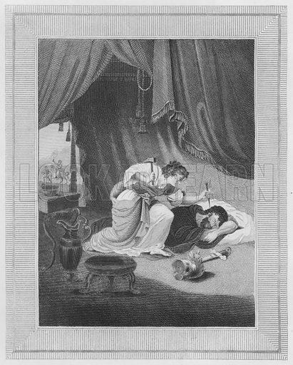 Jael Killeth Sisera, Judges, IV, 21. Illustration for unidentified volume of Bible illustrations, c 1835.