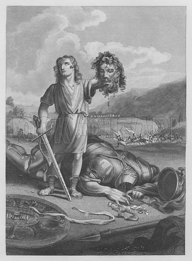 David's Victory over Goliath, I Samuel, XVII, 51. Illustration for unidentified volume of Bible illustrations, c 1835.
