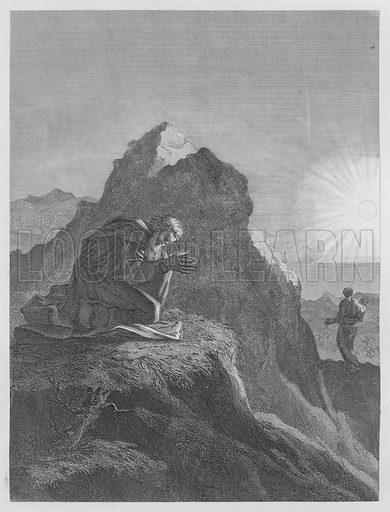 Elijah on Mount Carmel, I Kings, XVIII, 42. Illustration for unidentified volume of Bible illustrations, c 1835.