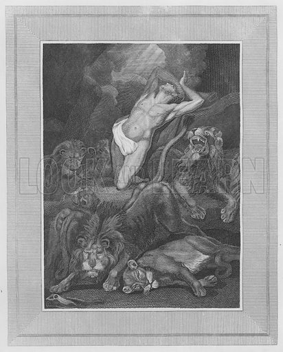 Daniel in the Lion's Den, Daniel, VI, 16, etc. Illustration for unidentified volume of Bible illustrations, c 1835.