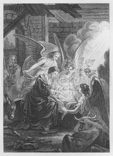 Christ's Nativity. Illustration for unidentified volume of Bible illustrations, c 1835.