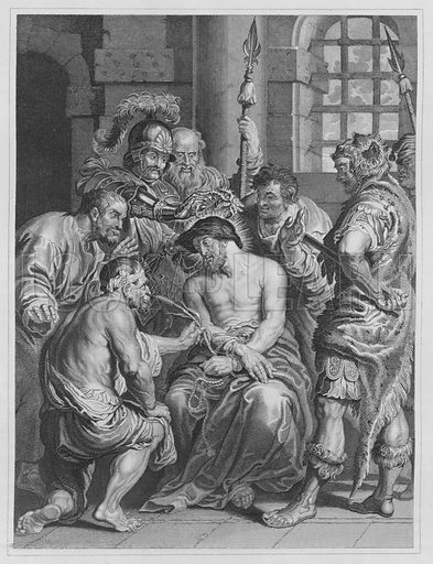 Jesus Crowned with Thorns, Matthew, 27, Verse 28, 29. Illustration for unidentified volume of Bible illustrations, c 1835.