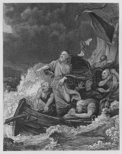 The Tempest, Mark, IV, Verse 38. Illustration for unidentified volume of Bible illustrations, c 1835.