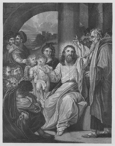 Little Children brought to Christ, St Mark, Chapter 10, Verse 13-17. Illustration for unidentified volume of Bible illustrations, c 1835.