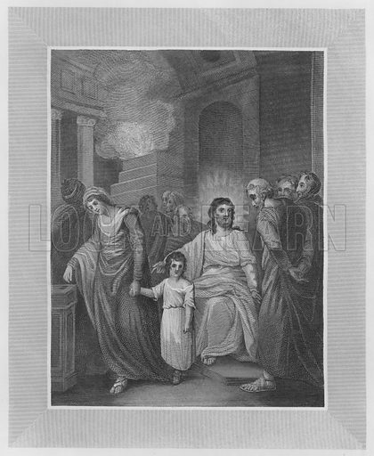 The Widow's Mite, Mark, XII, Verse 42, 43. Illustration for unidentified volume of Bible illustrations, c 1835.