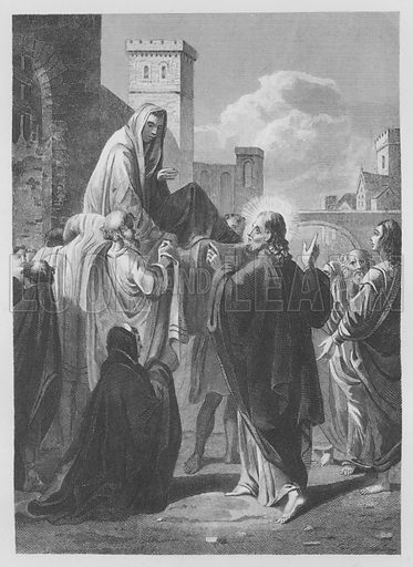 Christ Raiseth the Widow's Son. Illustration for unidentified volume of Bible illustrations, c 1835.
