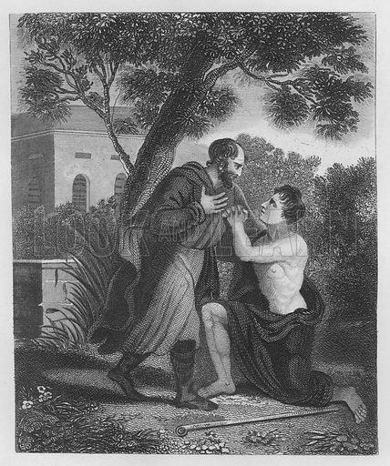 The Prodigal's Return, Luke, XV. Illustration for unidentified volume of Bible illustrations, c 1835.