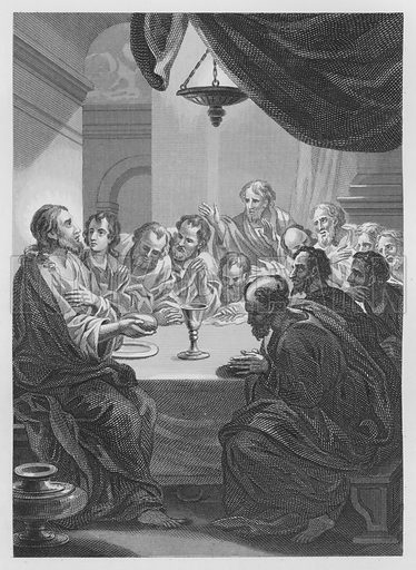 The Last Supper. Illustration for unidentified volume of Bible illustrations, c 1835.