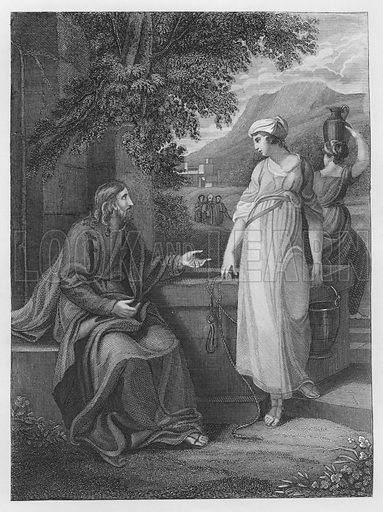 Christ and the Woman of Samaria, St John, Chapter 4, Verse 5, 27. Illustration for unidentified volume of Bible illustrations, c 1835.