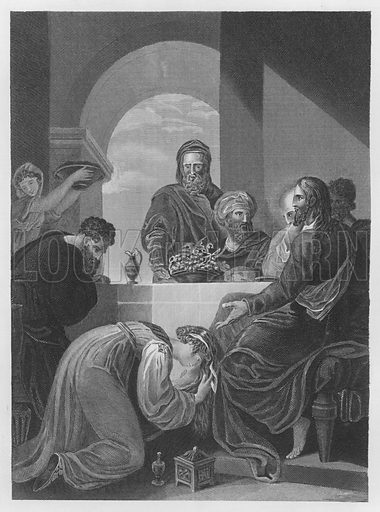 Mary Anointing Jesus's Feet, St John, Chapter 12, Verse 1, 9. Illustration for unidentified volume of Bible illustrations, c 1835.