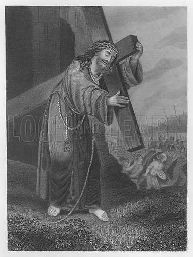 Christ Bearing His Cross, John, Chapter XIX, 17. Illustration for unidentified volume of Bible illustrations, c 1835.