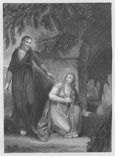 Christ Appeareth to Mary, St John, Chapter 20, Verse 11, 19. Illustration for unidentified volume of Bible illustrations, c 1835.
