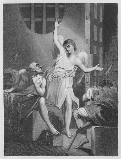 Peter Delivered Out of Prison, Acts, 12, Verse 7. Illustration for unidentified volume of Bible illustrations, c 1835.
