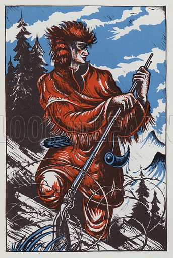 Daniel Boone. Illustration for A Book of Americans by Rosemary and Stephen Vincent Benet (Farrar and Rinehart, 1933).