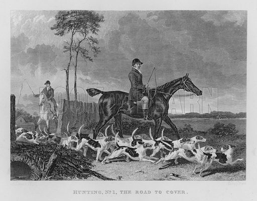 Hunting, No 1 The Road to Cover. Illustration for unidentified book of sports, c 1840.