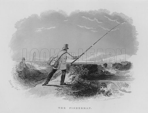 The Fisherman. Illustration for unidentified book of sports, c 1840.