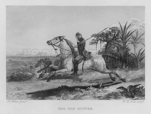 The Hog Hunter. Illustration for unidentified book of sports, c 1840.