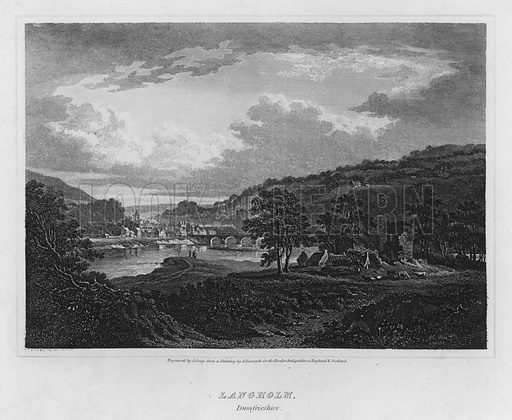 Langholm, Dumfrieshire.  Illustration for The Border Antiquities of England and Scotland by Walter Scott (Longman et al, 1814).