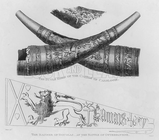 The Bugle Horn of the Castle of Carslogie; The Banner of Douglas, at the Battle of Otterbourne. Illustration for The Border Antiquities of England and Scotland by Walter Scott (Longman et al, 1814).