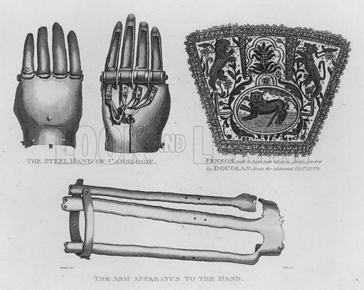 The Steel Hand of Carslogie; Pennon, said to have been taken in Single Combat by Douglas, from the celebrated Hotspur; The Arm Apparatus to the Hand. Illustration for The Border Antiquities of England and Scotland by Walter Scott (Longman et al, 1814).
