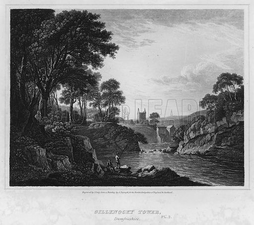 Gillknocky Tower, Dumfrieshire. Illustration for The Border Antiquities of England and Scotland by Walter Scott (Longman et al, 1814).