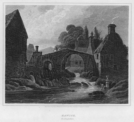 Hawick, Roxburghshire. Illustration for The Border Antiquities of England and Scotland by Walter Scott (Longman et al, 1814).