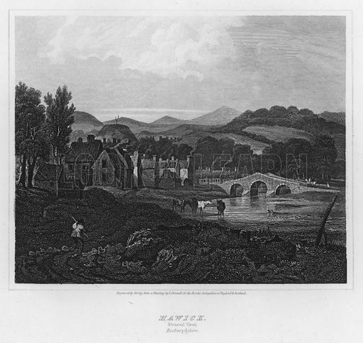 Hawick, General View, Roxburghshire. Illustration for The Border Antiquities of England and Scotland by Walter Scott (Longman et al, 1814).