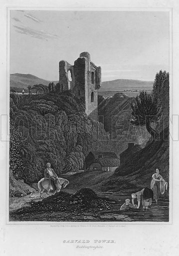 Garvald Tower, Haddingtonshire. Illustration for The Border Antiquities of England and Scotland by Walter Scott (Longman et al, 1814).