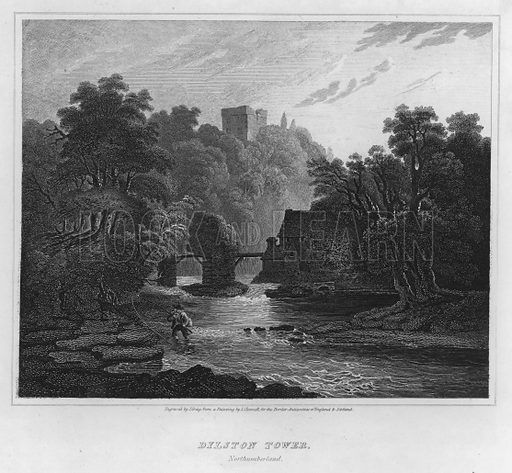 Dilston Tower, Northumberland. Illustration for The Border Antiquities of England and Scotland by Walter Scott (Longman et al, 1814).