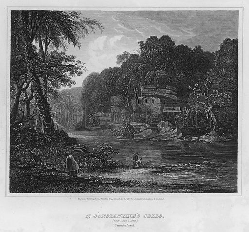 St Constantine's Cells, near Corby Castle, Cumberland. Illustration for The Border Antiquities of England and Scotland by Walter Scott (Longman et al, 1814).