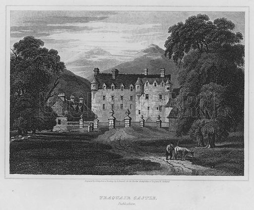 Traquair Castle, Peebleshire. Illustration for The Border Antiquities of England and Scotland by Walter Scott (Longman et al, 1814).