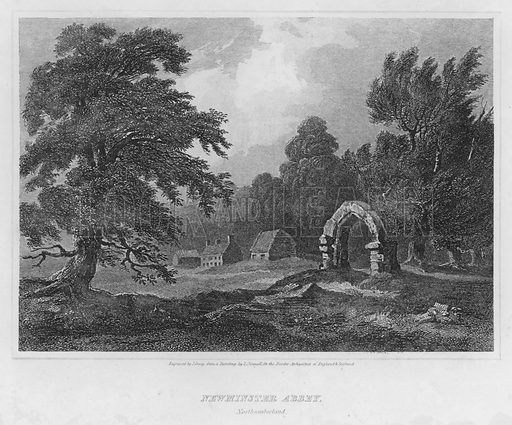 Newminster Abbey, Northumberland. Illustration for The Border Antiquities of England and Scotland by Walter Scott (Longman et al, 1814).