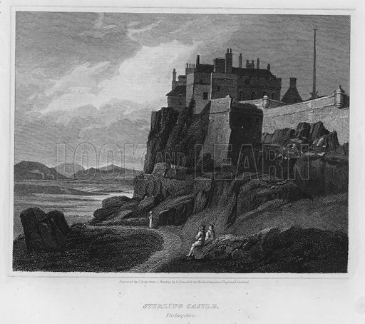 Stirling Castle, Stirlingshire. Illustration for The Border Antiquities of England and Scotland by Walter Scott (Longman et al, 1814).