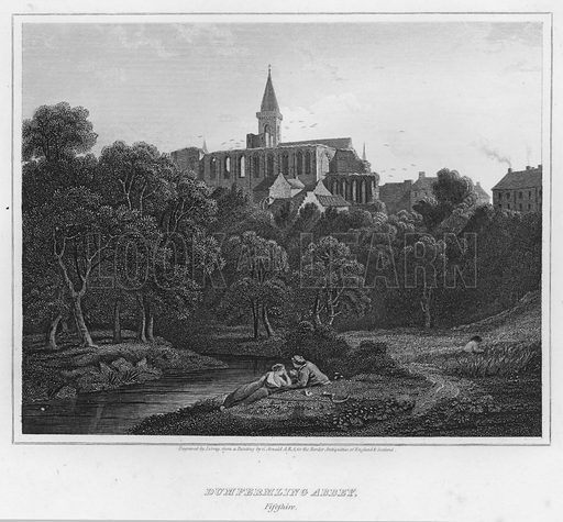 Dumfermling Abbey, Fifeshire. Illustration for The Border Antiquities of England and Scotland by Walter Scott (Longman et al, 1814).