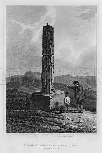 Monumental Pillar, near Wooler, Northumberland. Illustration for The Border Antiquities of England and Scotland by Walter Scott (Longman et al, 1814).