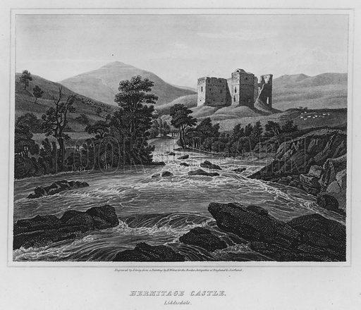 Hermitage Castle; Liddisdale. Illustration for The Border Antiquities of England and Scotland by Walter Scott (Longman et al, 1814).