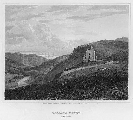 Elibank Tower, Peebleshire. Illustration for The Border Antiquities of England and Scotland by Walter Scott (Longman et al, 1814).