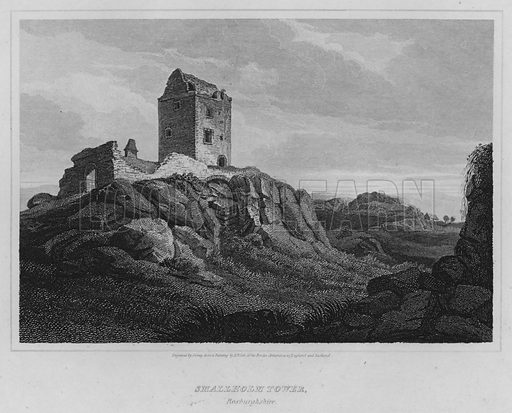 Smallholm Tower, Roxburghshire. Illustration for The Border Antiquities of England and Scotland by Walter Scott (Longman et al, 1814).