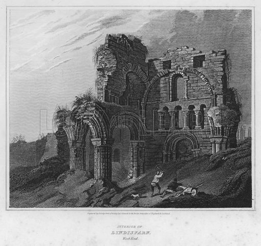 Interior of Lindisfarn, West End. Illustration for The Border Antiquities of England and Scotland by Walter Scott (Longman et al, 1814).