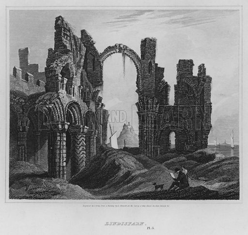 Lindisfarn. Illustration for The Border Antiquities of England and Scotland by Walter Scott (Longman et al, 1814).