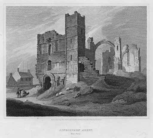 Lindisfarn Abbey, West Front. Illustration for The Border Antiquities of England and Scotland by Walter Scott (Longman et al, 1814).