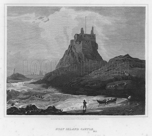 Holy Island Castle. Illustration for The Border Antiquities of England and Scotland by Walter Scott (Longman et al, 1814).