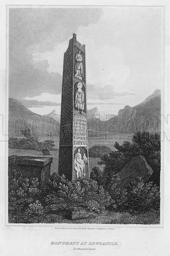 Monument at Bewcastle, Northumberland. Illustration for The Border Antiquities of England and Scotland by Walter Scott (Longman et al, 1814).