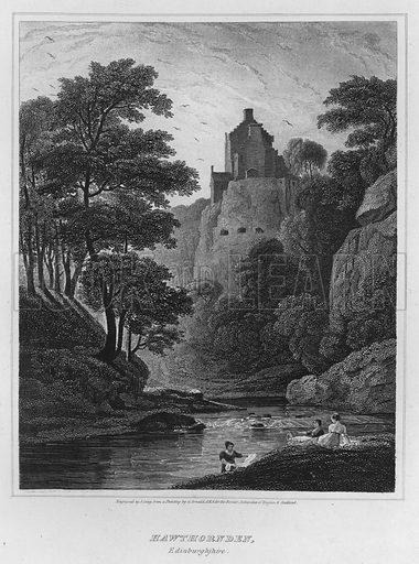 Hawthornden, Edinburghshire. Illustration for The Border Antiquities of England and Scotland by Walter Scott (Longman et al, 1814).