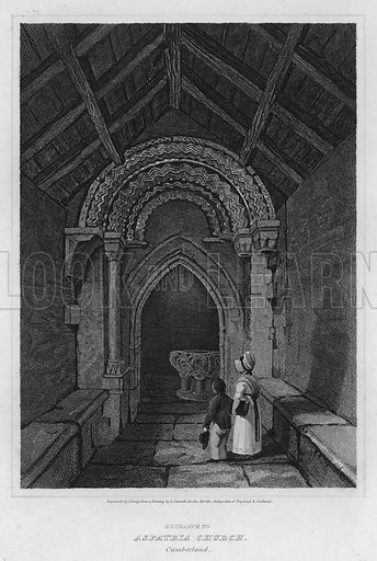 Entrance to Aspatria Church, Cumberland. Illustration for The Border Antiquities of England and Scotland by Walter Scott (Longman et al, 1814).