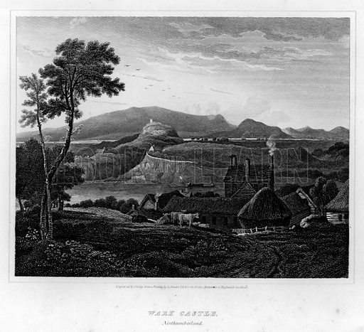 Wark Castle, Northumberland. Illustration for The Border Antiquities of England and Scotland by Walter Scott (Longman et al, 1814).