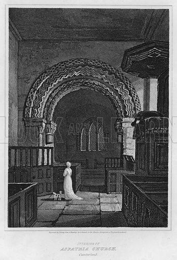 Interior of Aspatria Church, Cumberland. Illustration for The Border Antiquities of England and Scotland by Walter Scott (Longman et al, 1814).