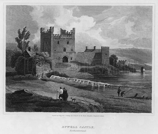 Bywell Castle, Northumberland. Illustration for The Border Antiquities of England and Scotland by Walter Scott (Longman et al, 1814).