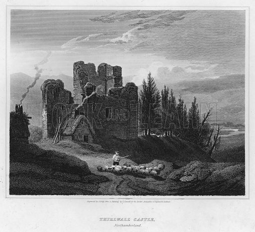 Thirlwall Castle, Northumberland. Illustration for The Border Antiquities of England and Scotland by Walter Scott (Longman et al, 1814).